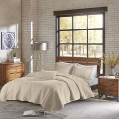 INK IVY Shelby Natural Cotton Jersey Heathered Coverlet Set