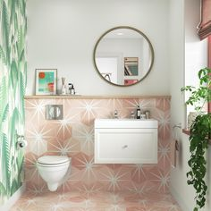 Tropical and vibrant, the Palm Springs bathroom trend certainly isn't shy! Use pattern and colour to elevate your space and pair a jungle print feature wall with contrasting statement tiles. For even more design inspo, download our free trends book. Heritage Bathroom, Bathroom Trends, Step Inside, Bold Fashion, Spring Trends, Tile Patterns, Palm Springs, Powder Room, Your Space