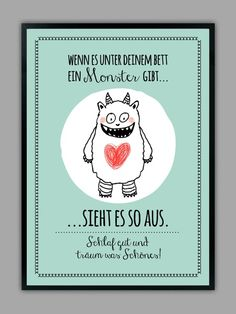 """SCHLAF GUT"" Kunstdruck mit Monster, mint // artprint, monster by Smart-Art Kunstdrucke via DaWanda.com"