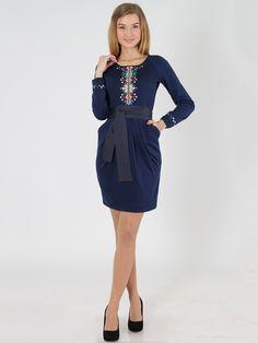 Платье синее с вышивкой - Anna Dali, акция действует до 17 декабря 2015 года | LeBoutique - Коллекция брендовых вещей от Anna Dali