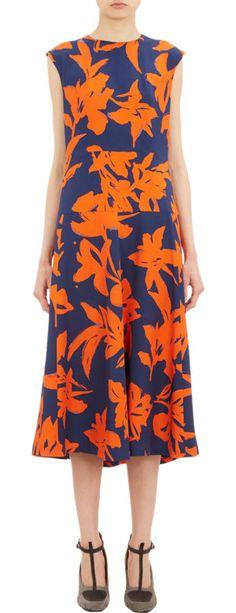 Dries Van Noten  Silk Twill dress, lined, hidden zip, A line, wide waistband panel, vertical darting at back