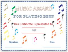 Music awards editable music award certificates pinterest are you a music teacher or instructor looking for a way to motivate your students why not try our colorful musical notes award certificate template yelopaper Choice Image