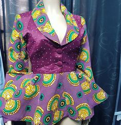 Ways to rock your ankara ❤. fully stoned ankara jacket Ready to be delivered to a special someone . African Wear Dresses, African Fashion Ankara, Latest African Fashion Dresses, African Print Fashion, Africa Fashion, African Attire, African Blouses, African Tops, African Style