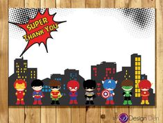 Super Hero Birthday party Matching Thank you Card / Comic Book style/ Printable Digital. Thank U Cards, Thank You Card Size, Backyard Birthday Parties, Costume Birthday Parties, Avengers Birthday, Superhero Birthday Party, Superhero Classroom, Birthday Party Invitations, Birthday Cards