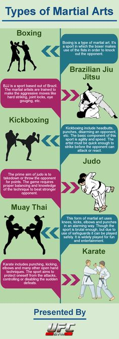 There are different forms of martial arts used today. Every sport has its own style and distinctive aims. While boxing is a combat sport, judo focuses to take down the opponent. This way, every sport has got different techniques to play.  This infographic discusses 6 different types of martial arts techniques in brief.