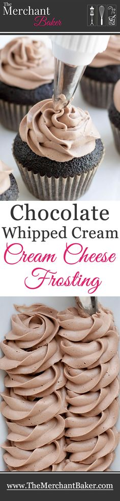 Chocolate Whipped Cream Cream Cheese Frosting - The Merchant Baker - - Chocolate Whipped Cream Cream Cheese Frosting. A combination of two favorites, now in chocolate! Wonderfully mellow, creamy and not too sweet! Keks Dessert, Bon Dessert, No Bake Desserts, Just Desserts, Delicious Desserts, Cupcake Recipes, Baking Recipes, Dessert Recipes, Party Recipes