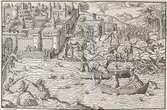Le Massacre de Tours, juillet 1562, gravure de Tortorel et Perrissin. -  Dès 1561, des affrontements larvés apposaient au sein de la ville de Tours les tenants des 2 religions. La prise d'Orléans par le prince de Condé s'accompagne de la conquête de plusieurs villes voisines, dont Tours, mais aussi Blois, Loches, Chinon, Amboise, par ses partisans. Les trésors des églises et abbayes, tout particulièrement celui de St-Martin de Tours, sont saisis et pillés, les states et tombeaux brisés.