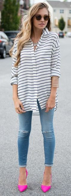 I like the mix of casual and professional with the oversized collard shirt. I've never understood ripped jeans though