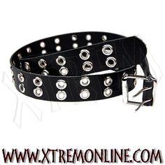 Cinturón de cuero con tachuelas. Remaches 2 Filas. Echa un vistazo a nuestros complementos: pulseras, collares y cinturones con tachuelas.