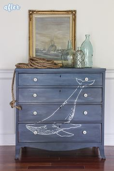 Today's makeover will really blow you away. It might even be a little over-whale-ming. I'm sure the suspense is krilling you, so let's get right to it.   Absolutely fintastic! Rachel at Shades of Blue Interiors hand-painted the whale herself, and did a slight ombre effect over the entire dresser, deepening the paint color …