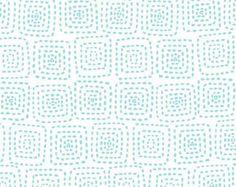 Stitch Square Sea Aqua and White Fabric Michael Miller- Aqua and White low volume fabric - 1 yard