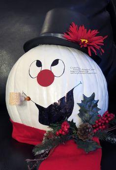Fancy For Stampin': Christmas Pumpkin Pumpkin Crafts, Snowman Crafts, Pumpkin Ideas, Pumpkin Snowmen, Diy Pumpkin, Pumpkin Tree, Christmas Crafts, Spooky Pumpkin, Christmas Ornaments