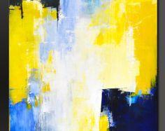 Cielo azul - 48 x 30 - abstracto acrílico pintura moderno de pared contemporánea arte-grandes