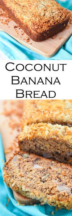 Coconut Banana Bread made with fresh, young coconut. Delicious tropical spin on banana bread!