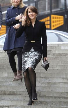 Princess Mary looks relaxed as she steps out in patterned pencil skirt She wore sheer black tights and L. Bennett pumps on the day – choosing to match her sleek look with pearl earrings and a pearl ring Royal Fashion, Fashion Over, Look Fashion, Womens Fashion, Steampunk Fashion, Gothic Fashion, Skirt Outfits, Dress Skirt, Mary Donaldson