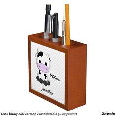 Cute funny cow cartoon customizable girls pencil holder