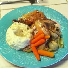 Baked chicken with onion, celery, carrots, and whipped Califlower and gravy.  SCD