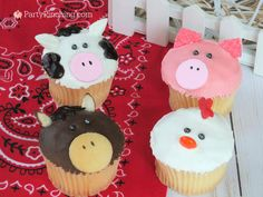 farm barnyard animal cupcakes, cow cupcake, pig cupcake, chicken rooster cupcake, horse cupcake, cute food, fun food for kids, sweet treats, farm theme party ideas, animal cupcakes, easy and furn cupcakes kids can make, no bake cupcakes, grocery store cupcakes