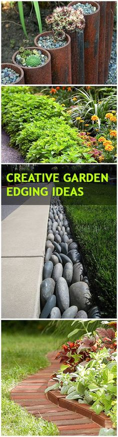 Creative Garden Edging Ideas (The Brick is my favorite & seems the most practical - easier to maintain & mow around). | BlessMyWeeds.com