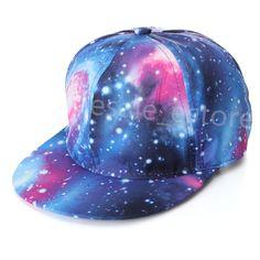 14665cb0e1c Vintage Baseball Flat Bill Hat Men Women Snapback Hip-Hop Adjustable Cap  Unisex Galaxy Space