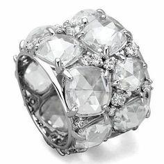 Celebrity Inspired Cluster Diamond Eternity Ring - Joy of London Jewels #DiamondEternityRings