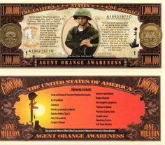 Agent Orange Awareness Million Dollar Novelty Money
