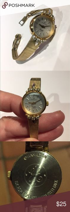 Vintage Hamilton 10k gold bracelet watch Doesn't work- decorative jewelry use. Delicate 10k gold bezel with stainless steel back. Was given as gift for years of employment at GE over 30 years ago to my grandmother hamilton Jewelry Bracelets
