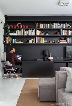 home decor inspo Home Office Setup, Home Office Organization, Home Office Space, Home Office Design, Home Design, Living Room Bookcase, Living Room Sectional, Interior Flat, Interior Design