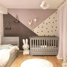 50 kreative Babyzimmer: Heimwerken - Gesunder Lebensstil - FeltTails Baby Nursery Decor and Craft Tutorials - Pin Baby Room Design, Nursery Design, Baby Room Decor, Nursery Decor, Bedroom Decor, Girl Nursery, Nursery Room Ideas, Bunny Nursery, Baby Nursery Diy