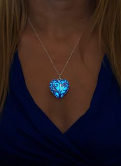 Blue Glowing Heart Necklace for Her.
