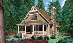 Corbell Cottage II Two Story House Plans Retreat to the comfort of this country styled vacation home. A covered porch, spanning across the front, Cottage House Plans, Country House Plans, Tiny House Plans, Cottage Homes, House Floor Plans, Small House Plans Under 1000 Sq Ft, Craftsman Cottage, Tiny Cottage Floor Plans, Cabin Design