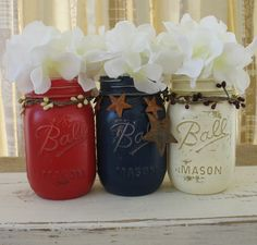 Mason Jars Decorative Mason Jars Red White by TheShabbyChicWedding