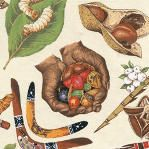 Bush Tucker images printed on cream background 100% Cotton Fabric