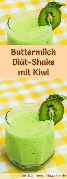 Buttermich-Shake mit Kiwi - ein Rezept mit viel Eiweiß und wenig Kalorien, perfekt zum Abnehmen, gesund und lecker ...