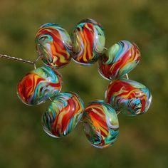 Jungle Talk  Set of 7 Encased Lampwork Beads  Dan O by koregon, $24.00