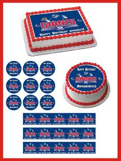New York Giants Edible Birthday Cake Topper