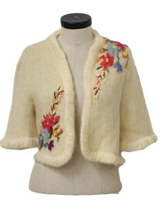 Late 50s -Exclusive Fashions by Rosanna- Womens ivory fuzzy mohair, wool and nylon knit with hand embroidered rose, blues and orange flowers and greens leaves done in ribbon and mohair, 3/4 sleeve crop bolero sweater with loopy edging, open front