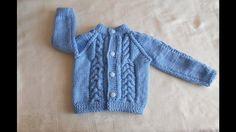 Chambrita / chompa / suéter / saco de 3  a 6 meses paso a paso parte 1 de 3 Crochet Coat, Crochet Fabric, Crochet Cardigan Pattern, Crochet Baby, Baby Knitting Patterns, Knitting For Kids, Baby Cardigan, Knitted Flowers, Boys Sweaters