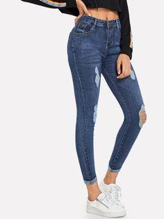 7012338c4220 Ripped Skinny Jeans -SheIn(Sheinside) Stylish Jeans, Denim Skinny Jeans,  Skinny