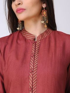 Maroon Cotton Tussar Kurta with Block-printed Details Chudi Neck Designs, Salwar Neck Designs, Neck Designs For Suits, Kurta Neck Design, Neckline Designs, Kurta Designs Women, Blouse Neck Designs, Designs For Dresses, Churidar Designs