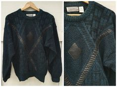 80's Method Mixed Black Vinyl and Acrylic Knit by ElkHugsVintage