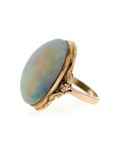 Art Nouveau Gold Filled & Fossilized Boulder Opal Ring. #opalsaustralia