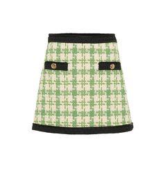 cc61800e99 Gucci - White, green & black wool & cotton-blend miniskirt ($1,500)
