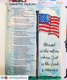 Happy Memorial Day in honor of those who gave the ultimate sacrifice #Repost @thelittlegiraffeart with @repostapp.  Thankful for those who sacrificed it all for our nation  #bible #biblejournalingcommunity #biblejournaling #illustratedfaith #nation #happymemorialday #memorialday #flag #usa http://ift.tt/1KAavV3