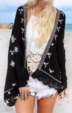 Black Embroidered Gauze Kimono at Lookbook Store - Trendslove