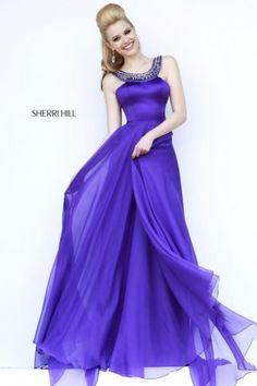 Sherri Hill 32151 Purple Long High Neck Prom Dresses Cheap