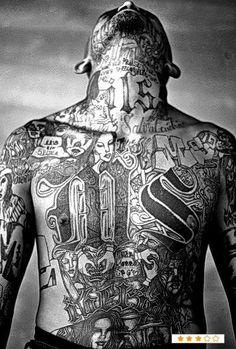 May A members of the Mara Salvatrucha gang displays his tattoos inside the Chelatenango prison in El Salvador. Gangster Tattoos, Chicano Tattoos, Chicano Art, Cholo Tattoo, Face Tattoos, Body Art Tattoos, New Tattoos, Tattoos For Guys, Ms 13 Gang
