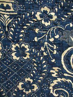 Mid-18th c. indigo resist print quilt from Rouen