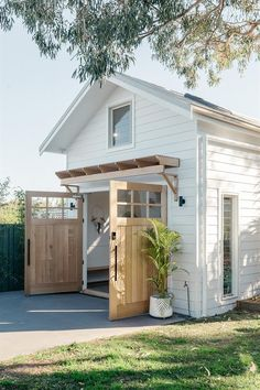 White Warm Minimal Coastal Sophisticated Design Inspiration - Hello Lovely Charming barn style backyard guest house with loft – Loughlin Furniture. Backyard Guest Houses, Backyard Barn, Backyard Sheds, Shed Guest Houses, Tiny Guest House, Small Pool Houses, Garage Guest House, Backyard Office, Backyard Buildings