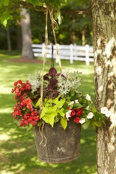 Rustic Hanging Container | Enjoy nonstop color all season long with these container gardening ideas and plant suggestions. You'll find beautiful pots to adorn porches and patios. You may not have the space or patience to become a master gardener, but anyone can master container gardening. It's a cinch—all you need is a container (a planter in true gardener speak), potting soil, some plants and you're ready to go. Thinking of container gardening like this, it's easy to see why container